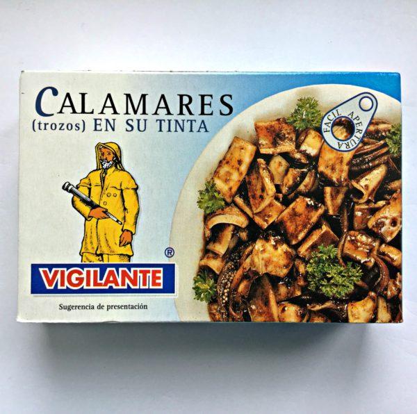 Kalmarer (blekksprut) i eget blekk eller «Calamares en su tinta».