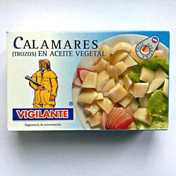 Kalmarer (blekksprut) i solsikkeolje eller «Calamares en aceite».