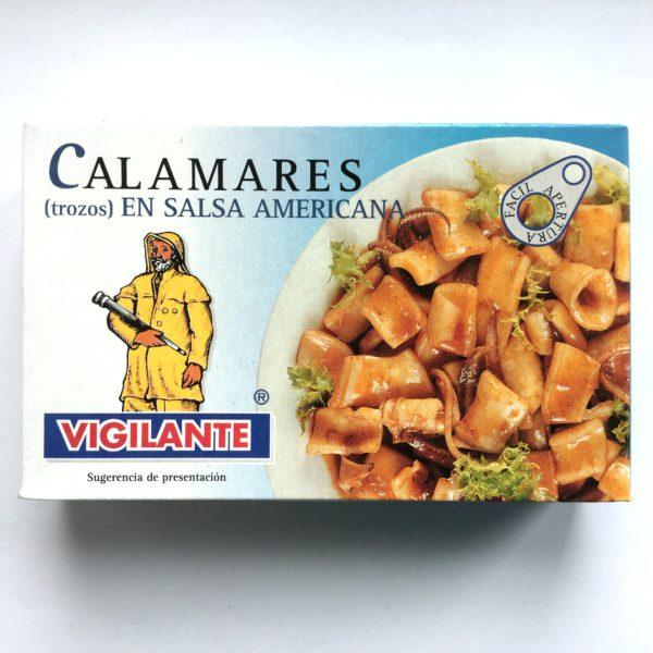 Kalmarer (blekksprut) i tomatbasert salsa eller «Calamares en salsa americana»