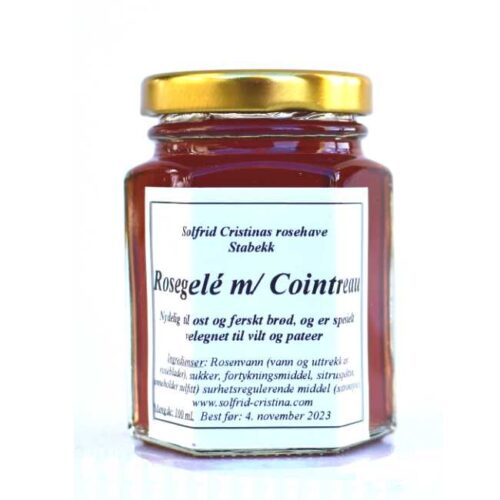 100 ml rød rosegelé med Cointreau, fra Solfrid Cristinas duftroser, dyrket og laget på Stabekk