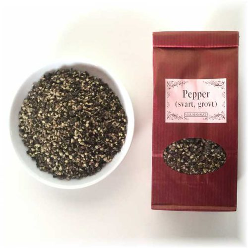 Grovmalt sort pepper