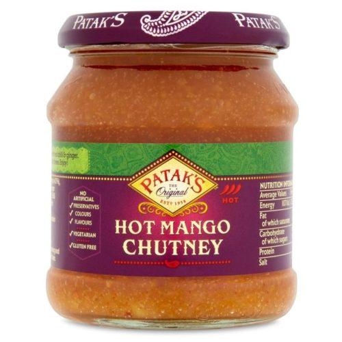 Sterk mango chutney fra Patak's, 340 g