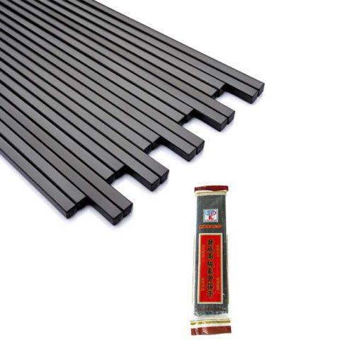 10 par svarte spisepinner (chopsticks)