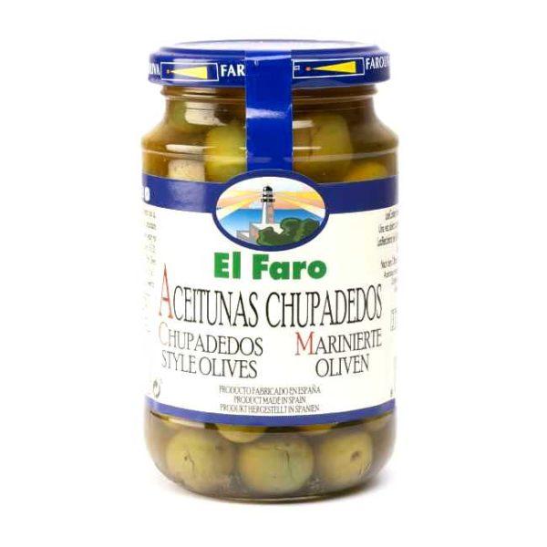Glass med 350 g spanske marinerte oliven