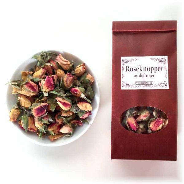 15 g tørkede roseknopper, av tofargede (rødt og gult) duftroser