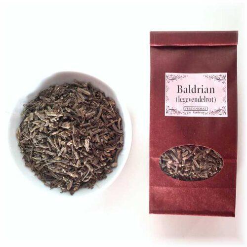 40 g tørket legevendelrot (baldrian)