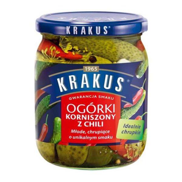 Sylteagurk (cornichons) med chili fra polske Krakus, 500 g