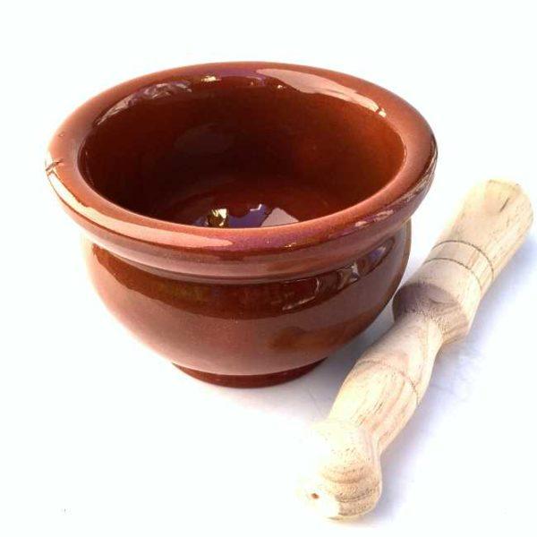 Håndlaget, spansk morter (terrakotta) med pistill