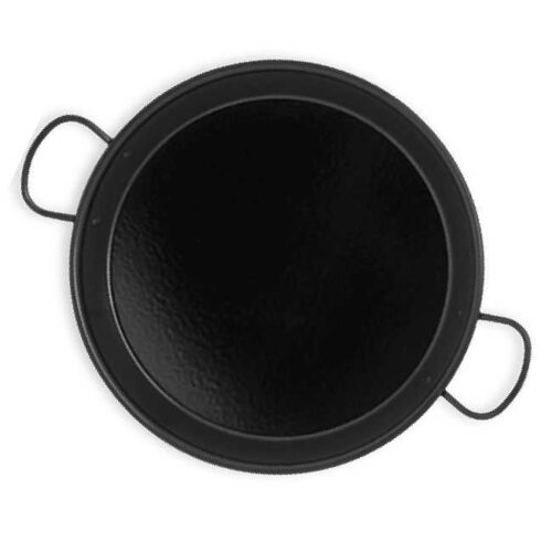 Massiv paellapane til induksjon og keramiske komfyrer, 34 cm. Stål med svart emalje, hvitprikket.