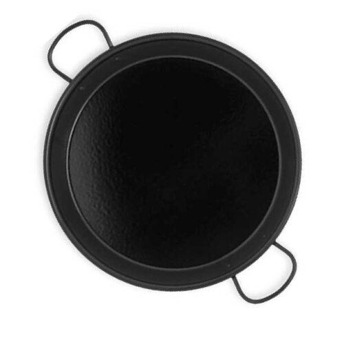 Massiv paellapane til induksjon og keramiske komfyrer, 38 cm. Stål med svart emalje, hvitprikket.