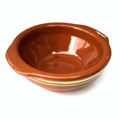 Spansk suppeskål av glasert terrakotta med andalusisk dekorasjon, 500 ml