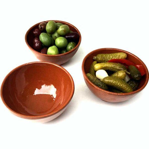 Spanske tapasskåler av glasert terrakotta, 150 ml
