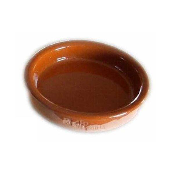 Terrakottaskål (tapasskål, cazuela) uten ører/håndtak, 12 cm i diameter, laget i Spania