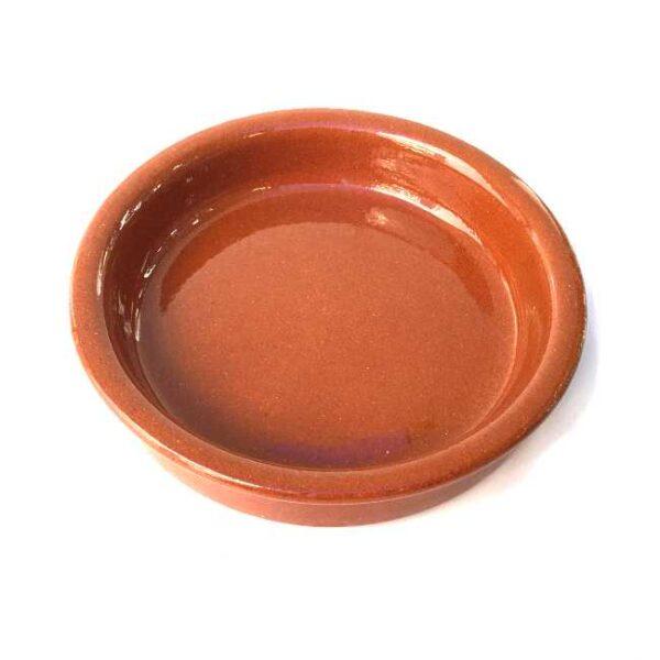Terrakottaskål (tapasskål, cazuela) uten ører/håndtak, 14 cm i diameter, laget i Spania