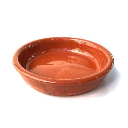 Terrakottaskål (tapasskål, cazuela) uten ører/håndtak, 16 cm i diameter, laget i Spania