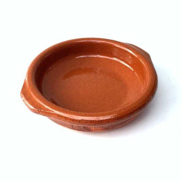 Terrakottaskål (tapasskål, cazuela), 8 cm i diameter, laget i Spania