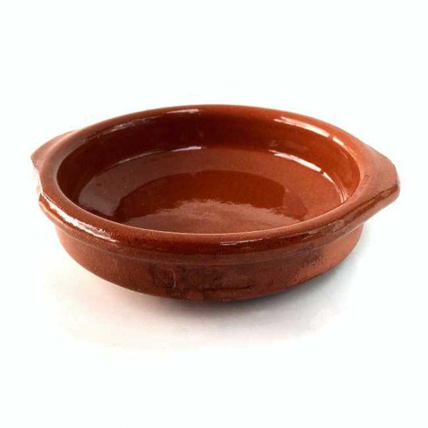 Terrakottaskål (tapasskål, cazuela), 10 cm i diameter, laget i Spania