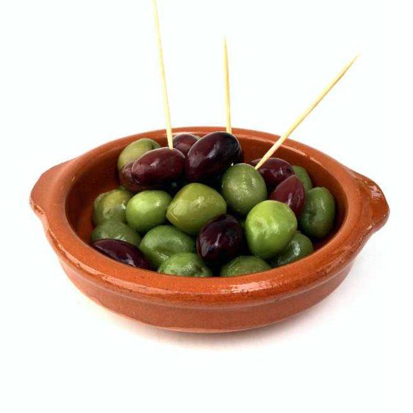 Terrakottaskål (tapasskål, cazuela), 12 cm i diameter, laget i Spania. Serveringsforslag.