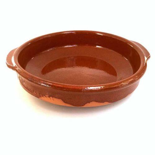 Terrakottaskål (ildfast fat, cazuela), 20 cm i diameter, laget i Spania