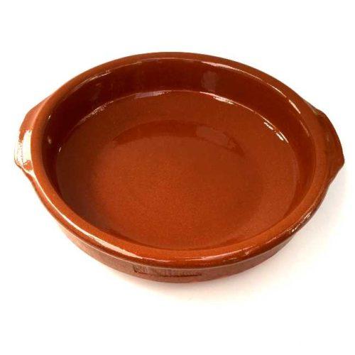 Terrakottaskål (ildfast fat, cazuela), 24 cm i diameter, laget i Spania