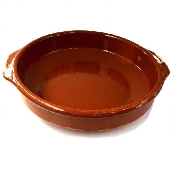 Terrakottaskål (ildfast fat, cazuela), 32 cm i diameter, laget i Spania