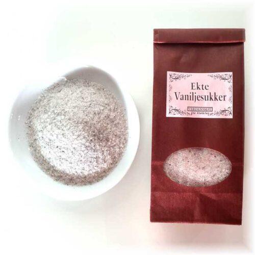 100 g ekte vaniljesukker (sukker og vaniljefrø)