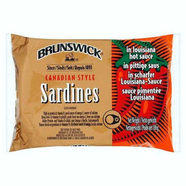 Brunswick kanadiske sardiner i Louisiana-chilisaus, boks à 106 g