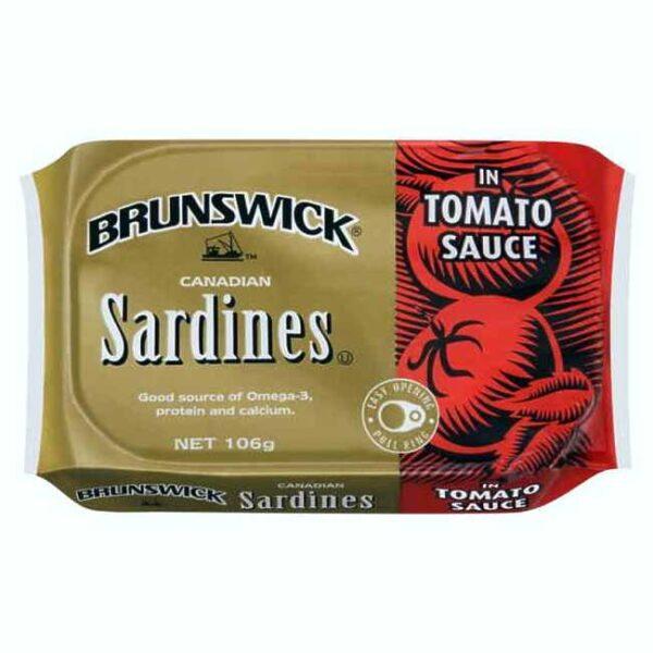 Brunswick kanadiske sardiner i tomatsaus, boks à 106 g