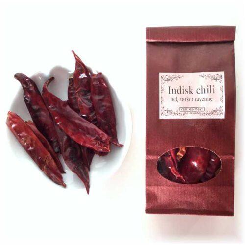 18 g hel, tørket, indisk chili (uten stilk)