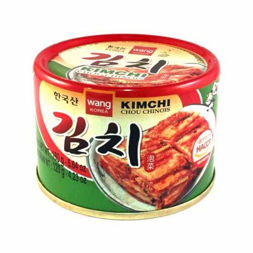 Kimchi (fermentert, krydret napakål) fra den koreanske produsenten Wang, boks à 160 g