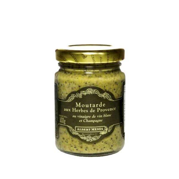 Moutarde aux herbes de Provence (sennep med urter fra Provence) fra franske Albert Ménés, glass á 100g