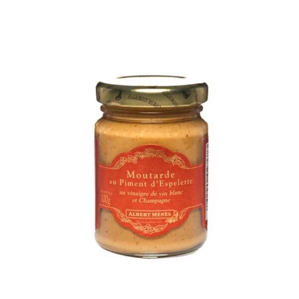 Moutarde aux piment d'Espelette (sennep med Espelette-chili) fra franske Albert Ménés, glass á 100g