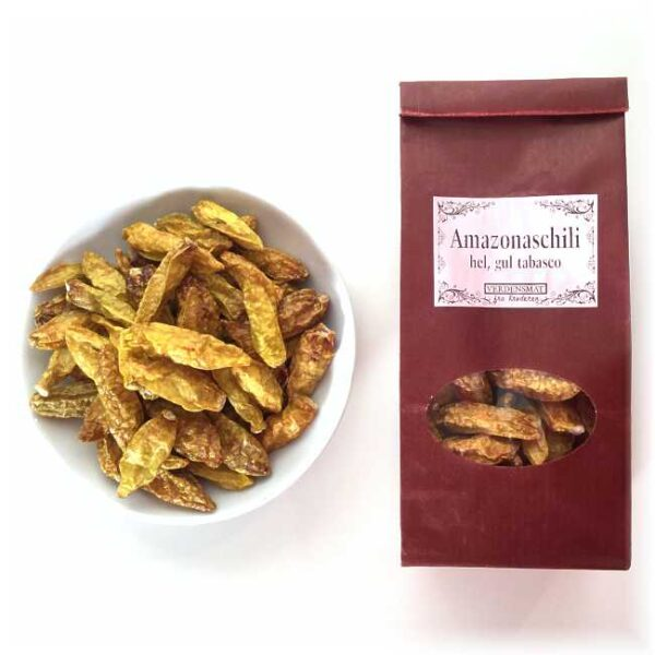 "20 g hel, tørket amazonaschili (""gul tabasco"")"