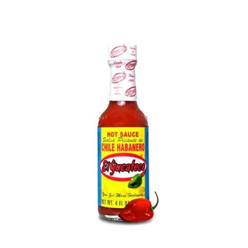 120 ml med chilisaus av rød habanero, laget i Mexico