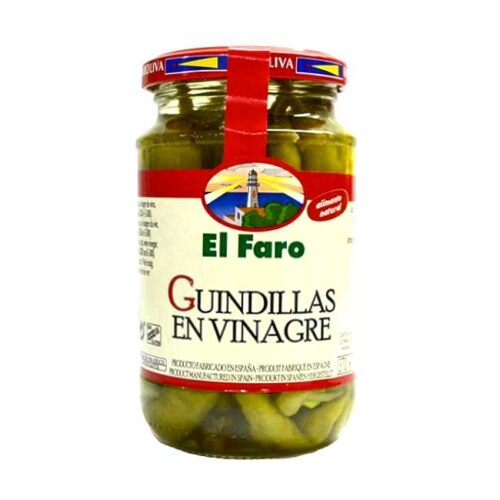 Glass med 340 g peperoncini (guindillas, hele chili) i eddiklake