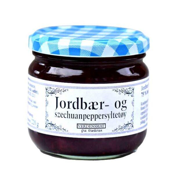 220 g jordbærsyltetøy krydret med szechuanpepper og balsamicoeddik. Produsert på Krøderen, med bær fra Krøderen.
