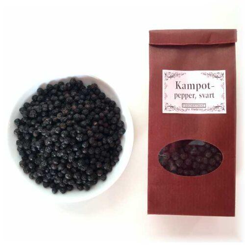 55 g svart, hel pepper fra Kampot (Kambodsja)