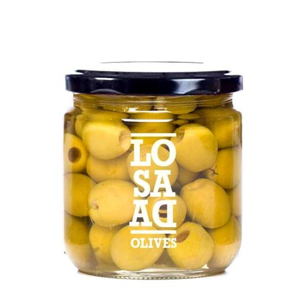 345 g hele, steinløse manzanillaoliven i saltlake (derav 169 g oliven)