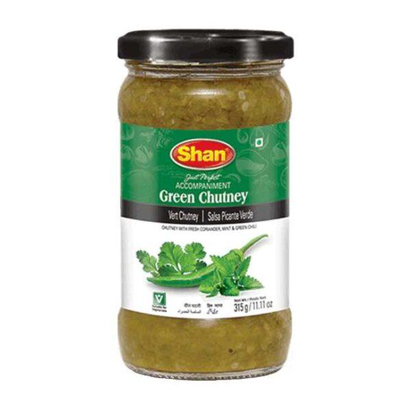 Grønn urtechutney fra den pakistanske produsenten Shan, 315 g