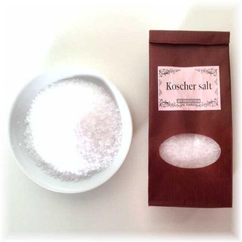 """130 g halvgrovt flaksalt (""""kosher salt"""")"""