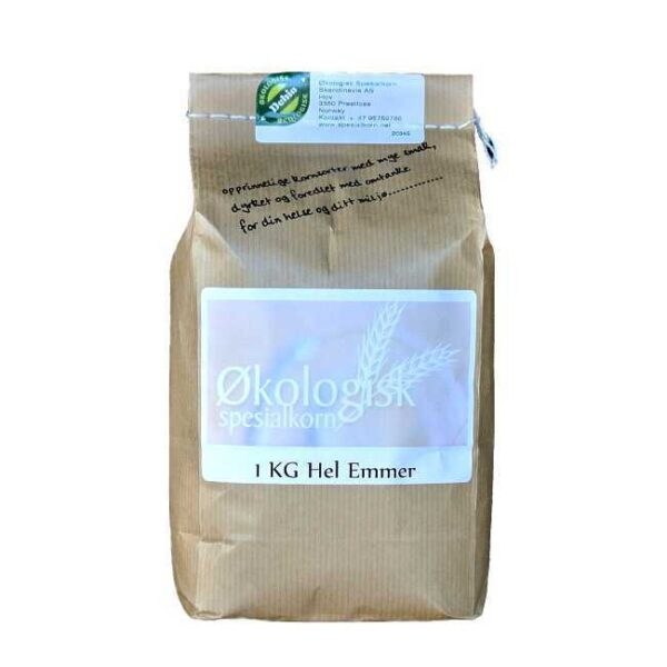 1 kg økologiske, norskproduserte hele korn av emmer fra Sigdal Mølle