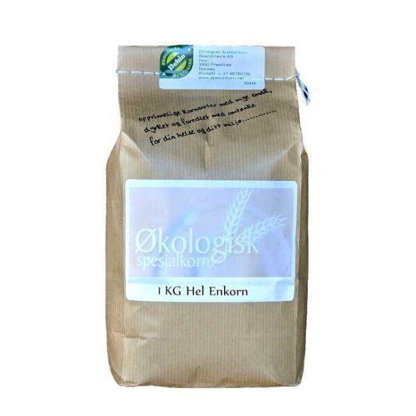 1 kg økologiske, norskproduserte hele korn av enkorn fra Sigdal Mølle