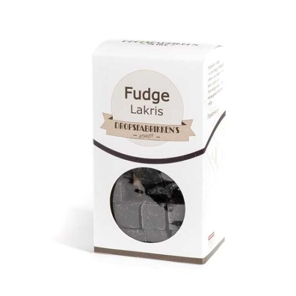 Eske med 100 g fudge (myk karamell) med lakrissmak