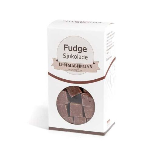 Eske med 100 g fudge (myk karamell) med sjokoladesmak