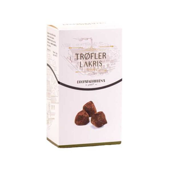 Eske med 100 g sjokoladetrøfler med lakris