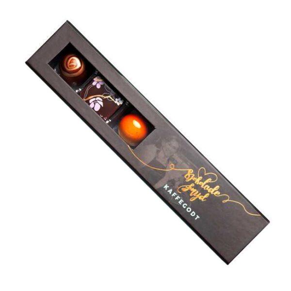 Konfekteske med 6 biter sjokoladekonfekt fra Jentene på Tunet