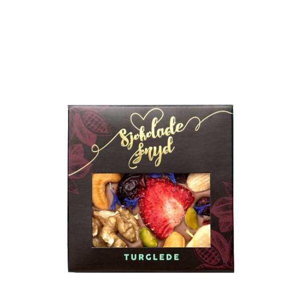 """Sjokoladeplate """"Turglede"""": 65 g melkesjokolade med bær og nøtter, fra Jentene på Tunet"""