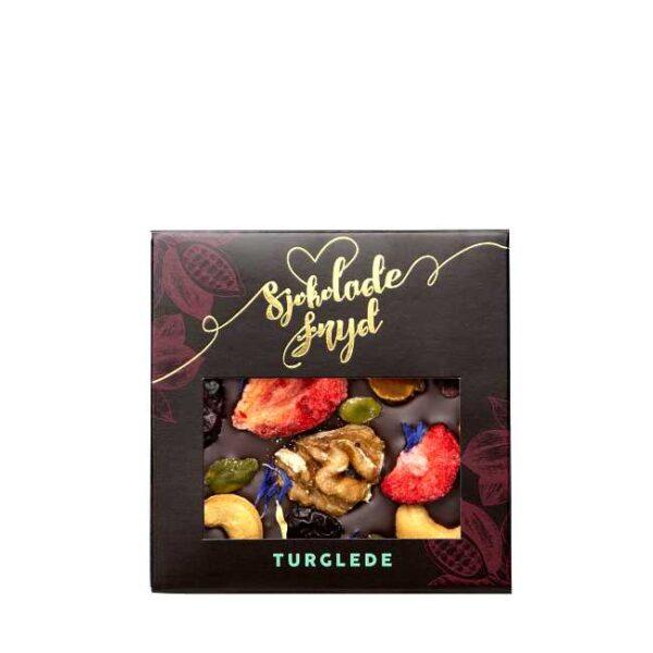 """Sjokoladeplate """"Turglede"""": 65 g mørk sjokolade med bær og nøtter, fra Jentene på Tunet"""
