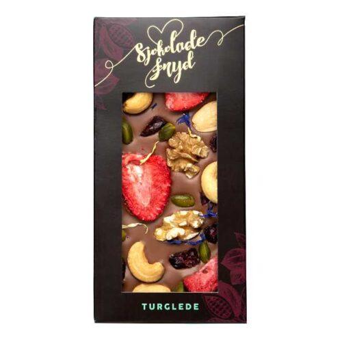 """Sjokoladeplate """"Turglede"""": 110 g melkesjokolade med bær og nøtter, fra Jentene på Tunet"""