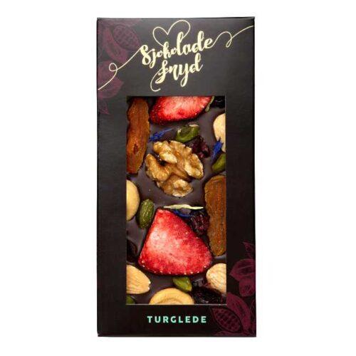 """Sjokoladeplate """"Turglede"""": 110 g mørk sjokolade med bær og nøtter, fra Jentene på Tunet"""
